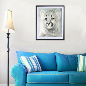 Lion Round Drill Diamond Painting 30X25CM(Canvas)
