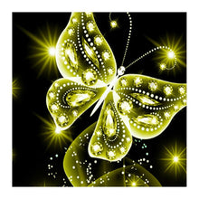Load image into Gallery viewer, Butterfly Yellow Round Drill Diamond Painting 30X30CM(Canvas)
