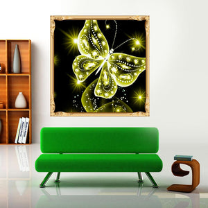 Butterfly Yellow Round Drill Diamond Painting 30X30CM(Canvas)