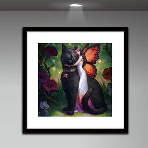 Beauty Cat Round Drill Diamond Painting 30X30CM(Canvas)