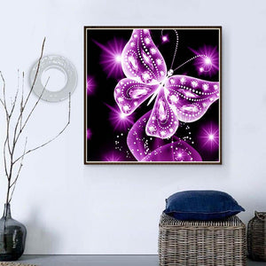 Butterfly Pink Round Full Drill Diamond Painting 25X25CM(Canvas)