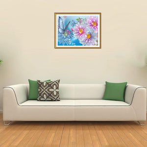 Flower Round Drill Diamond Painting 40X30CM(Canvas)