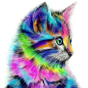 Colorful Kitten Round Full Drill Diamond Painting 30X30CM(Canvas)