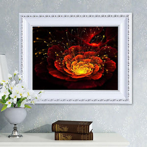 Red Flower Round Full Drill Diamond Painting 40X30CM(Canvas)