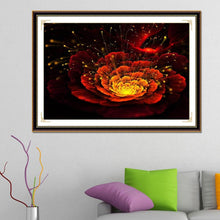 Load image into Gallery viewer, Red Flower Round Full Drill Diamond Painting 40X30CM(Canvas)