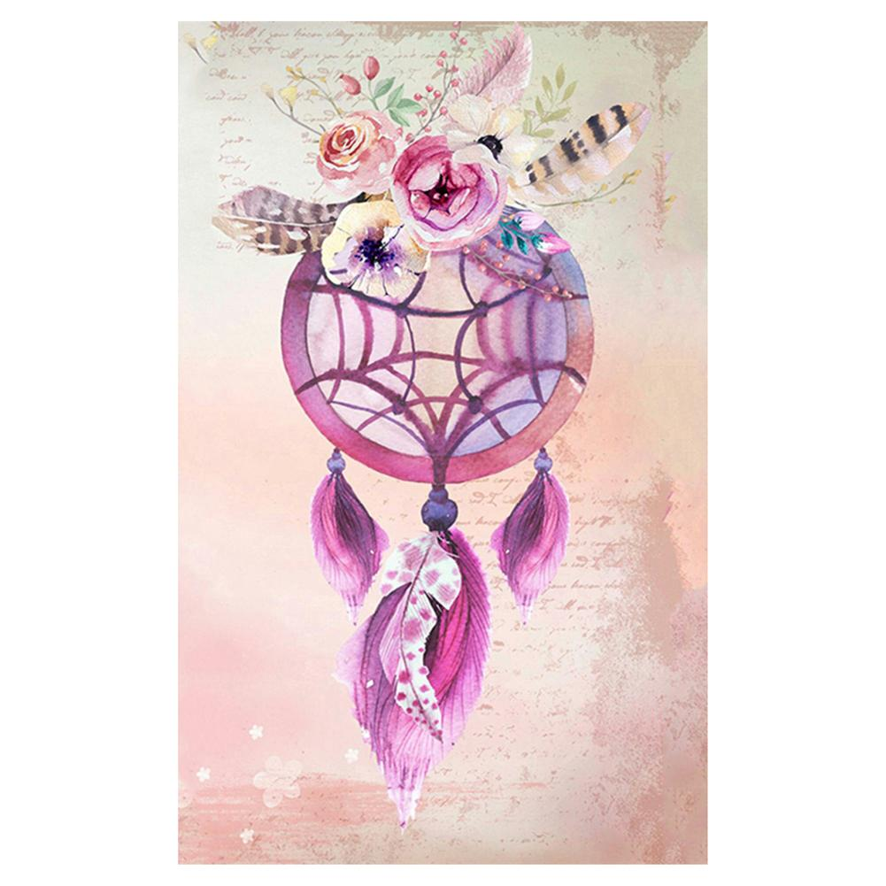 Flower Dream Catcher Round Drill Diamond Painting 25X35CM(Canvas)