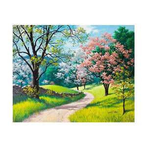 Four Season Scenery Round Full Drill Diamond Painting 30X25CM(Canvas)