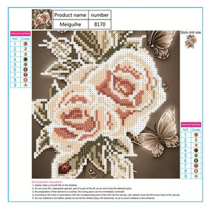 Rose Brown Round Drill Diamond Painting 25X25CM(Canvas)