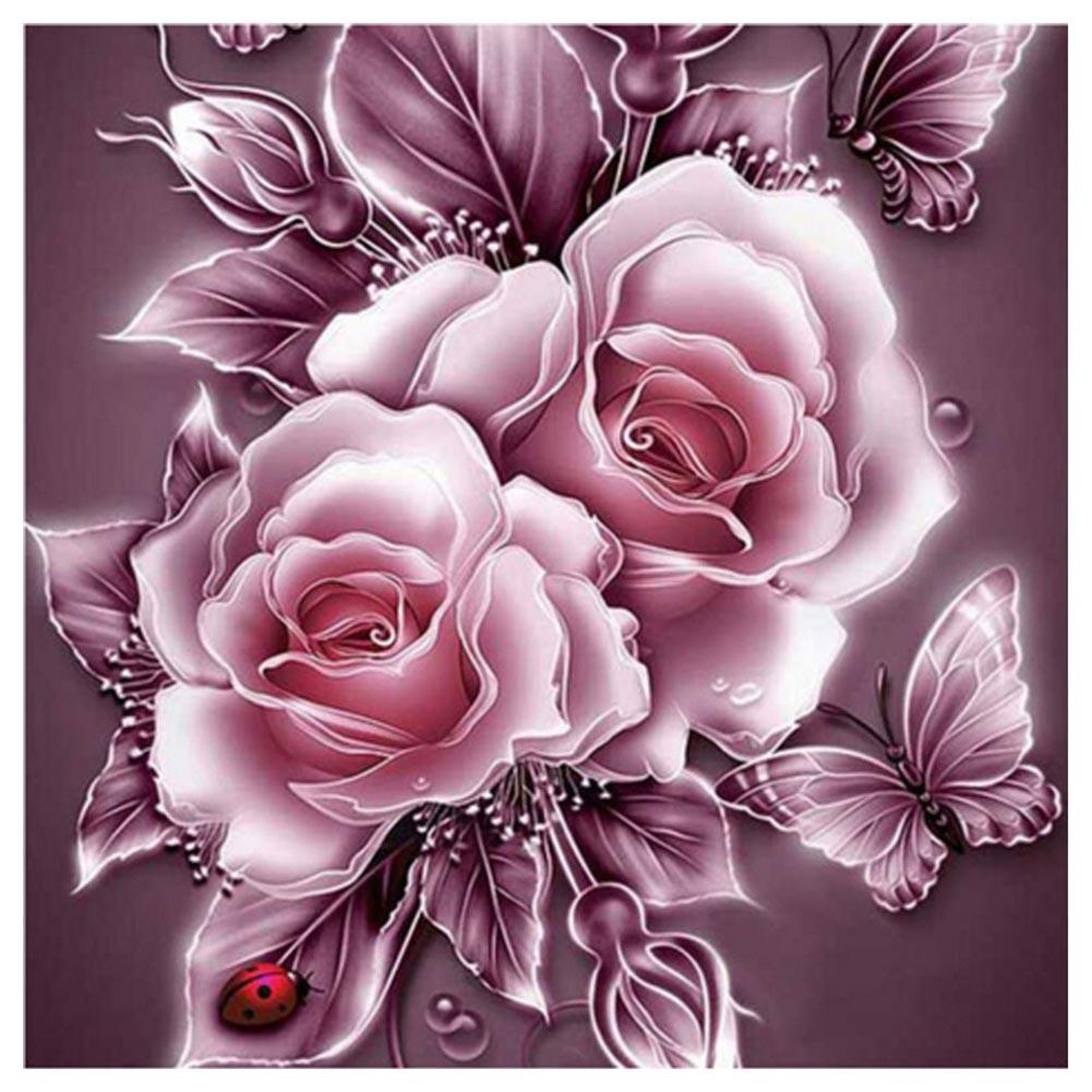 Rose Pink Round Drill Diamond Painting 25X25CM(Canvas)