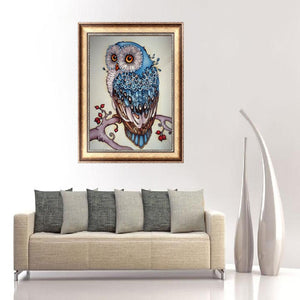 Bird Animal Round Part Drill Diamond Painting 20X30CM(Canvas)