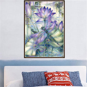 Dragonfly Lotus Flower Square Full Drill Diamond Painting 30X40CM(Canvas)
