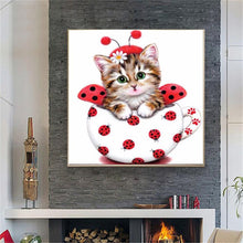 Load image into Gallery viewer, Decoration Cute Cat Round Drill Diamond Painting 30X30CM(Canvas)