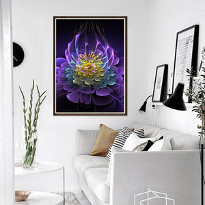 Fluorescent Flower Round Full Drill Diamond Painting 30X40CM(Canvas)