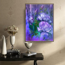 Load image into Gallery viewer, Purple Rose Round Drill Diamond Painting 20X25CM(Canvas)