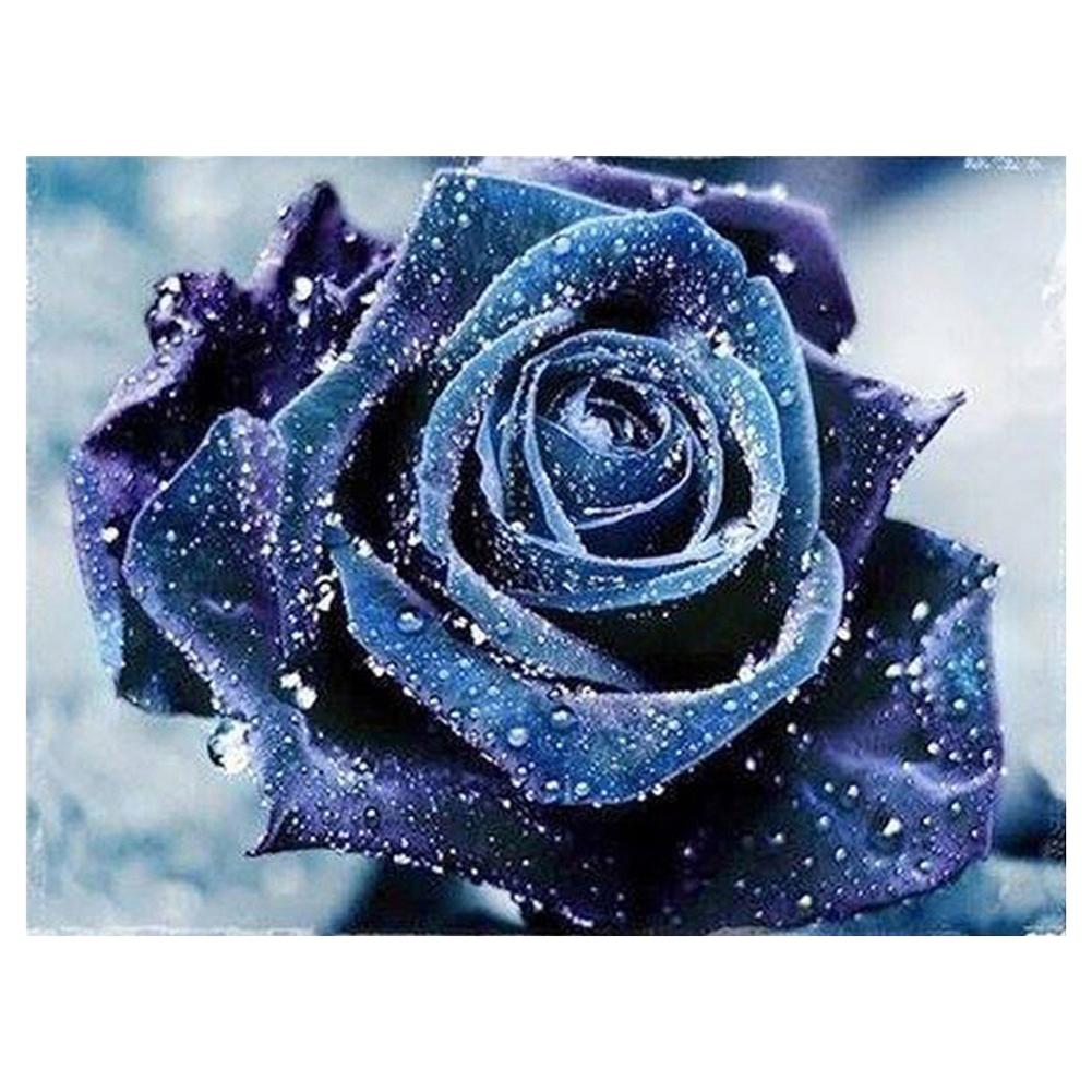 Blue Rose Round Drill Diamond Painting 25X20CM(Canvas)