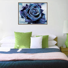 Load image into Gallery viewer, Blue Rose Round Drill Diamond Painting 25X20CM(Canvas)