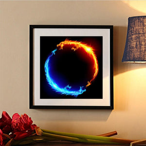 2-head Dragon Round Full Drill Diamond Painting 30X30CM(Canvas)