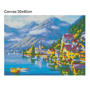 Seaside Town Round Full Drill Diamond Painting 40X30CM(Canvas)