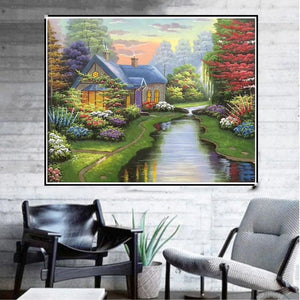 Scenery Round Full Drill Diamond Painting 30X25CM(Canvas)
