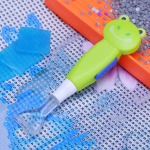 5D DIY Diamond Painting Cross Stitch Art Point Drill Pen with Light(Frog)