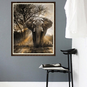 Elephant Round Part Drill Diamond Painting 40X30CM(Canvas)