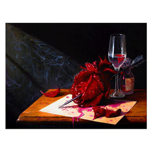 Rose in Arrow Round Part Drill Diamond Painting 38X30CM(Canvas)