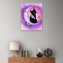 Load image into Gallery viewer, Black Cat Round Part Drill Diamond Painting 25X30CM(Canvas)