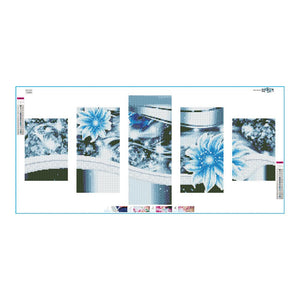 Flower 5-pictures Round Full Drill Diamond Painting 95X45CM(Canvas)