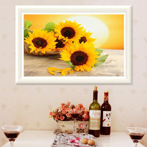 Sunflowers Round Part Drill Diamond Painting 40X30CM(Canvas)