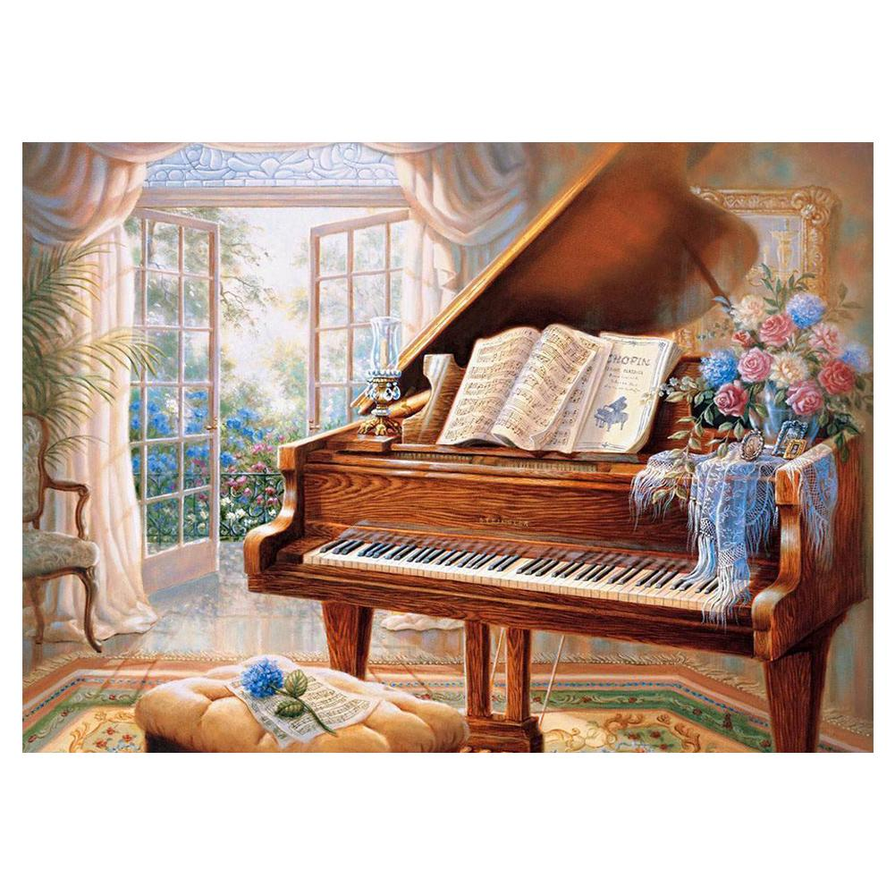 Piano Round Full Drill Diamond Painting 40X30CM(Canvas)