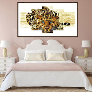 Leopard 5-pictures Round Full Drill Diamond Painting 95X45CM(Canvas)