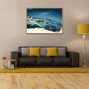 Sea Bottle Round Full Drill Diamond Painting 30X40CM(Canvas)