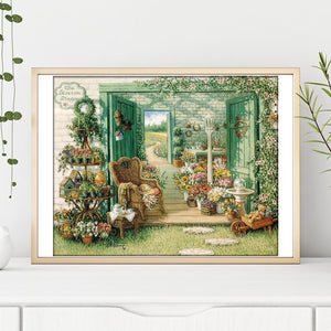 Yard Flowers Round Full Drill Diamond Painting 30X25CM(Canvas)