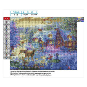 Christmas Round Full Drill Diamond Painting 30X25CM(Canvas)
