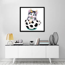 Load image into Gallery viewer, Cup Cat Baby Round Part Drill Diamond Painting 30X30CM(Canvas)