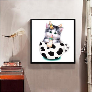 Cup Cat Baby Round Part Drill Diamond Painting 30X30CM(Canvas)