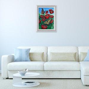 Butterfly Flower Special Drill Diamond Painting 40X30CM(Canvas)