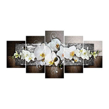 Load image into Gallery viewer, 5pcs Moth Orchid Round Full Drill Diamond Painting 95X45CM(Canvas)