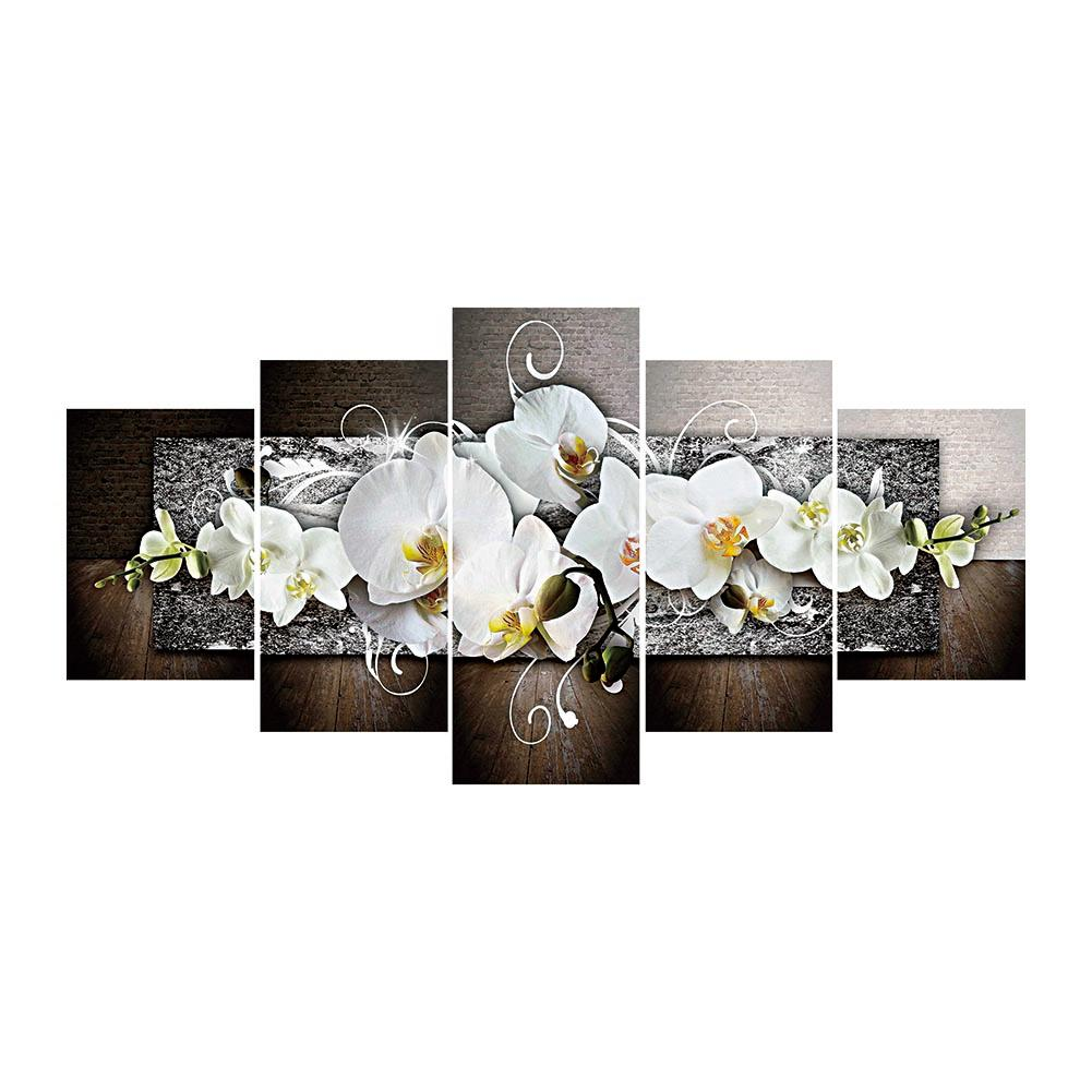 5pcs Moth Orchid Round Full Drill Diamond Painting 95X45CM(Canvas)
