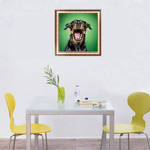 Black Yellow Dog Full Drill Diamond Painting 25X25CM(Canvas)