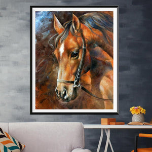 Horse Round Full Drill Diamond Painting 30X25CM(Canvas)