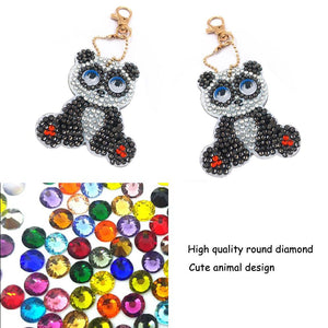 1pcs DIY Keychain Hand Made Diamond Painting Full Drill Pendant (Panda)
