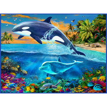 Load image into Gallery viewer, Dolphin Round Part Drill Diamond Painting 30X25CM(Canvas)