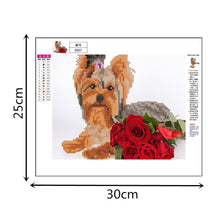 Load image into Gallery viewer, Dog Flowers Round Part Drill Diamond Painting 30X25CM(Canvas)