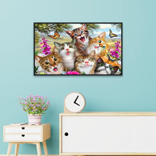 Load image into Gallery viewer, Cat Round Part Drill Diamond Painting 30X20CM(Canvas)