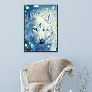 Wolf Round Part Drill Diamond Painting 30X20CM(Canvas)