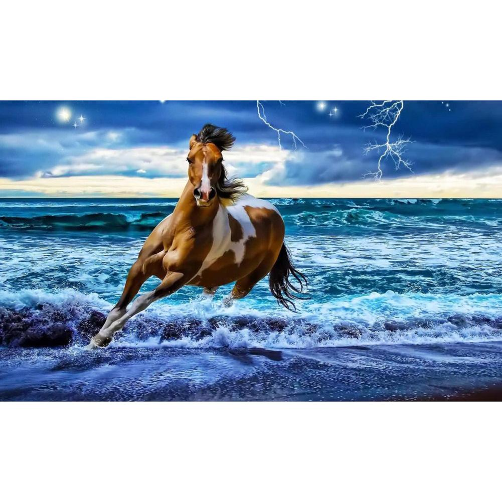Running Horse Round Part Drill Diamond Painting 30X20CM(Canvas)