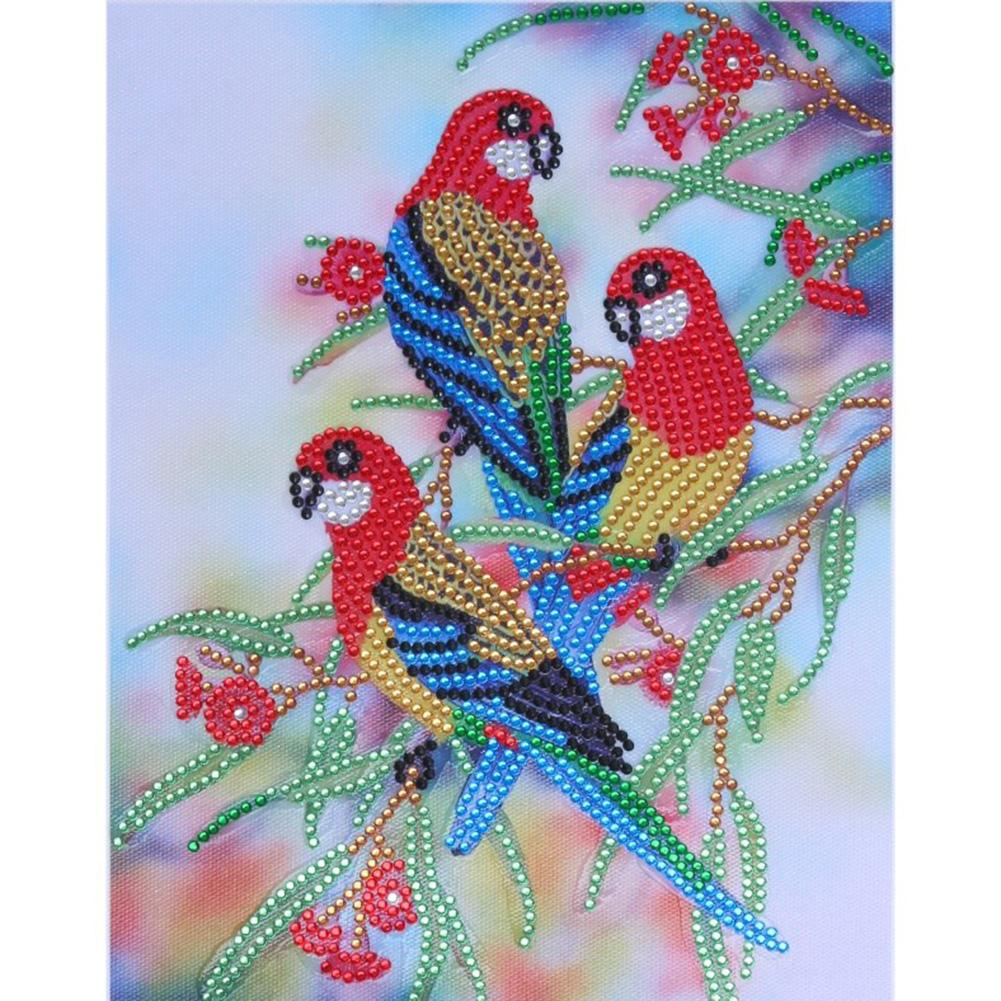 Parrot Special Part Drill Diamond Painting 30X25CM(Canvas)