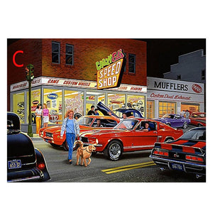 Parking Lot Round Full Drill Diamond Painting 40X30CM(Canvas)