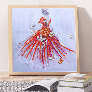 Dress Girl Special Part Drill Diamond Painting 25X25CM(Canvas)